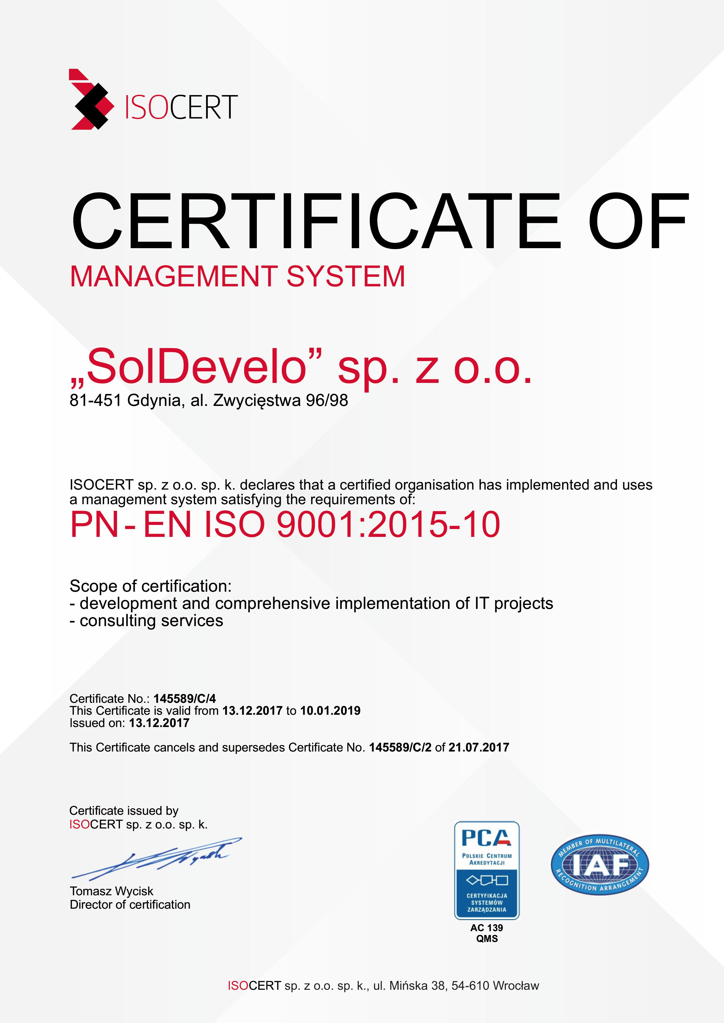 SolDevelo- ISO 9001 Certificate