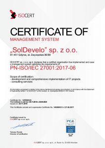 SolDevelo- ISO certificate 27001