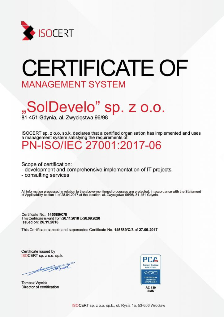 ISO Certificate 27001-2018 for Soldevelo