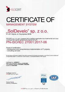 ISO cert 27001-2017 do 2023