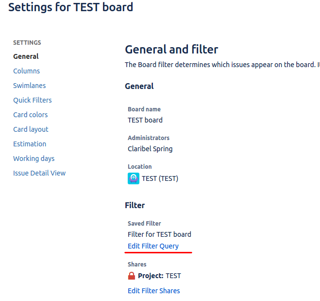 QAlity Test Management board-setting-filter