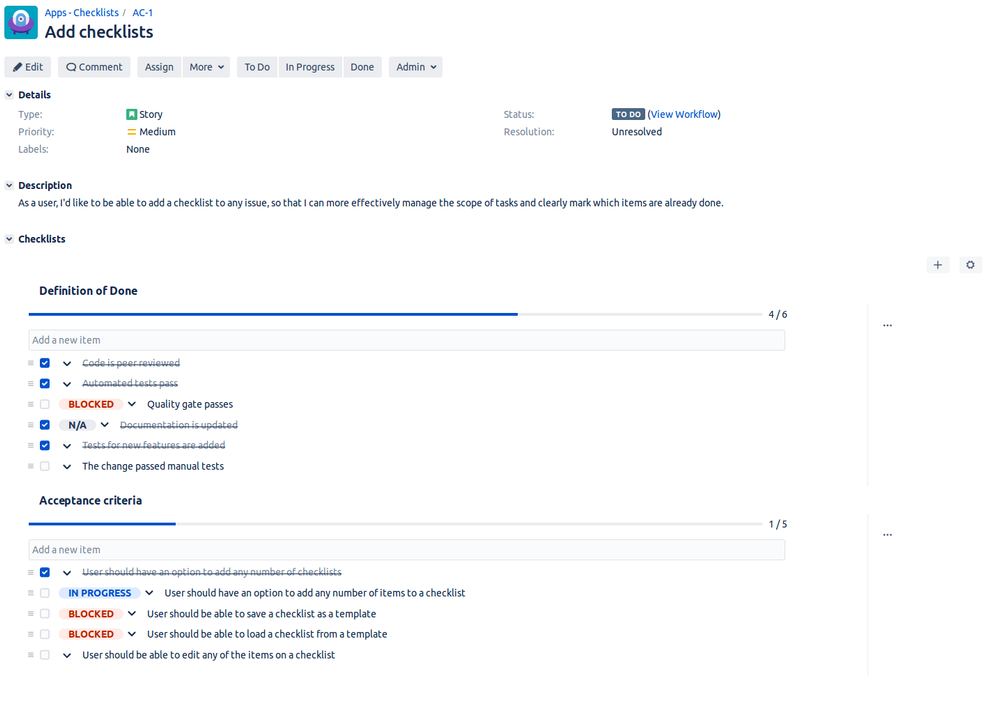 Multiple Checklists for Jira