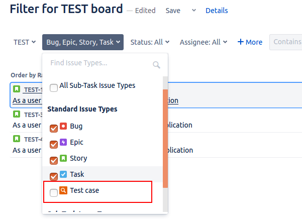 QAlity Test Management for Jira filter -wo-tc